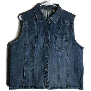 Chicos Platinum Denim Spandex Jean Jacket Vest